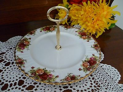 Estate  Royal Albert Old Country Roses Single Tier Cake Stand