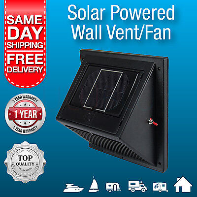 New Solar Powered Wall Vent/ Exhaust Fan /  Solar Rechargeable Battery