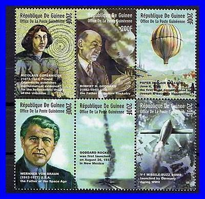 Guinea = Space & Astronomy Mnh ** Copernicus, Balloons, Wwii Rocket