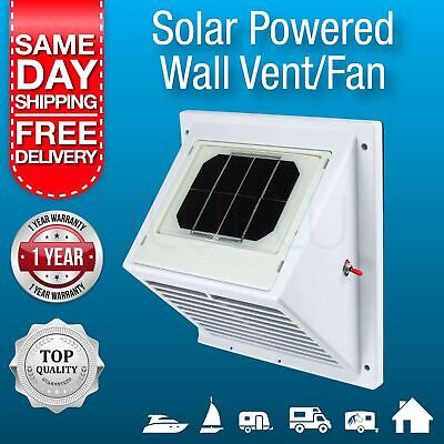 NEW Solar Powered Wall Vent, Exhaust Fan, Air Extraction Vent Solar, Boat, Home