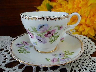 Vintage Shelley Coffee Cup & Saucer Pretty Floral Design Anemone