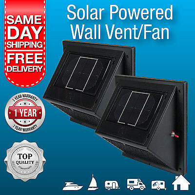 2 x New Solar Powered Wall Vents / Exhaust Fan /  Solar Rechargeable Battery