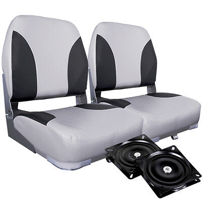 New Set of 2 Swivel Folding Marine Boat Seats Grey Black