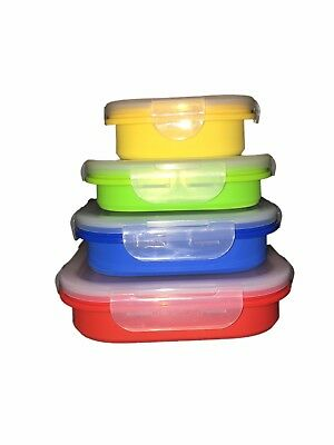 Ezysafe Food Storage Containers 4 SQUARE Silicone Storage Camping Collapsible