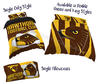 Hawthorn Hawks 2017 AFL Quilt Cover Doona Single Double Queen King Pillowcase