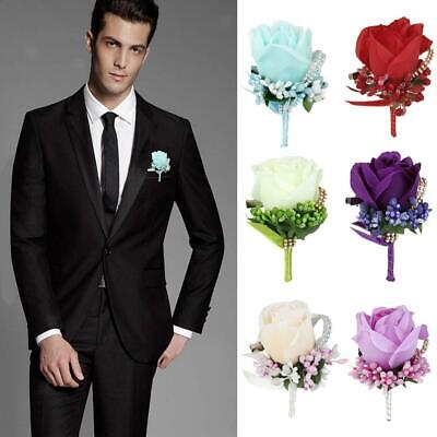 Rose Boutonniere Corsage Quinceanera Bridal Groom Brooch Pin Wedding Party Decor