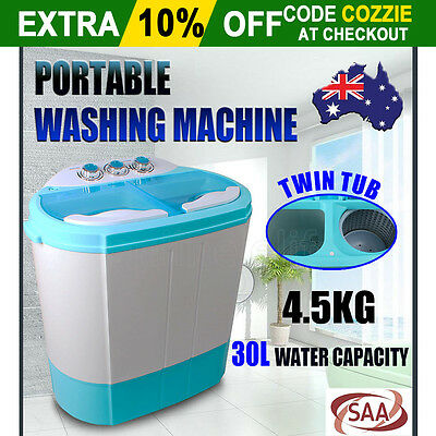 2 TUB WASH BIN 4.5KG Portable MINI WASHING MACHINE Dryer For Caravan Camping