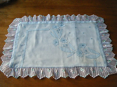 Old Boudoir pillow case hand Embroidery applique Madeira voile light blue