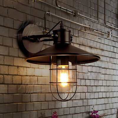 Vintage Industrial Wall Sconce Glass Lampshade Wall Lights Fixture Outdoor Lamp