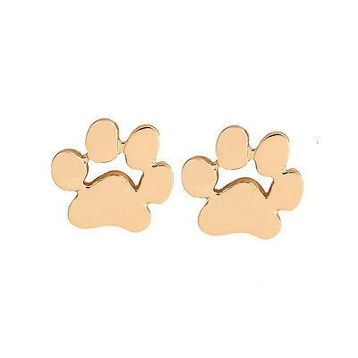 PAW PRINT EARRINGS in Silver/Gold or Rose Gold Plated Dog Cat Pet Animal Gift