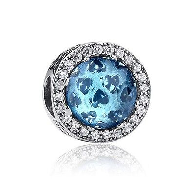Sterling Silver EURO Charm Radiant Hearts Blue CZ +FREE Pandora Cloth