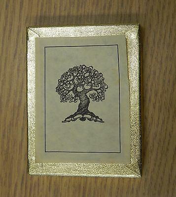 Vintage small Tree with roots holding book Antioch bookplates 5 count