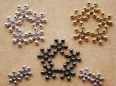 50/100/200 Premium Quality Bright Silver Snowflake Spacer Beads 6mm ,8mm or 10mm