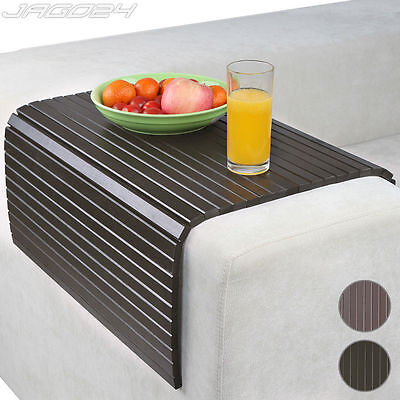 Sofa Arm Rest Tray Couch Chair Cover Flexible Snack Table Trivet Bamboo 50x70cm