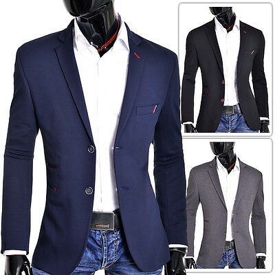 Blue Black Grey Mens Blazer Casual Look Slim Fit Two Buttons Contrast Finish NEW