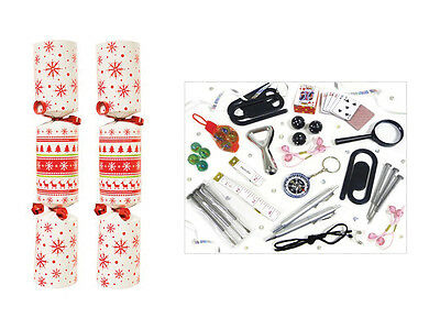 """50 Christmas Crackers 12"""" Solid White Fairisle Catering New Year Party Bulk Xmas"""