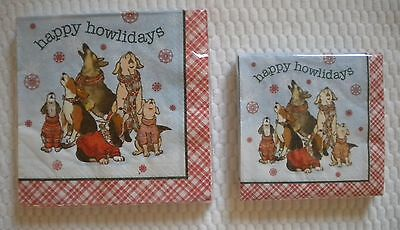 Paper Napkins HAPPY HOWLIDAYS Cocktail or Luncheon Size 2 ply 20 count DOGS PUPS