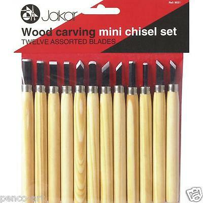 Jakar tools wood carving mini chisel set of 12 assorted blades. Wooden handles