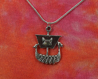 Viking Ship Necklace, Nordic Ancestral Ragnar Anglo Saxon Charm Pendant Gift
