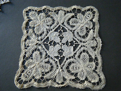 19c Old Antique TOPPER  BRUSSELS tape Lace SQUARE SHAPE