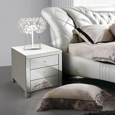 FoxHunter Mirrored Furniture Glass 3 Drawer Bedside Cabinet Table Bedroom MBC08