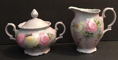 VTG Bareuther Bavaria Hand Painted Purple Creamer Sugar Bowl Lid Roses 3 pc set
