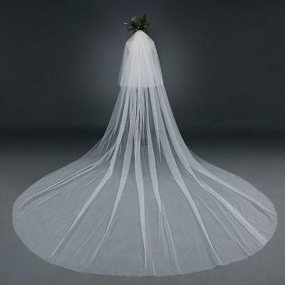 """Ivory 2 Tier Wedding Bridal Veil 118"""" Long,118"""" Wide Cathedral Tulle Cut Edge"""