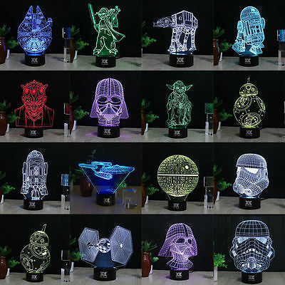 Star Wars Death Star 3D Acrylic LED Night Light Touch Desk Table Lamp 7 Color