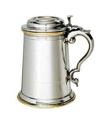 Celtic Gold 1 Pint Tankard Pewter & Brass with Lid by Wentworth of Sheffield