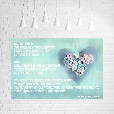 Kodaline  -  The One  -  Song Music Lyrics Canvas #1 Pop Art Pictures