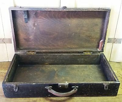 Vintage Wooden Lidded Workshop Tool Storage Box With Leather Handle - Prop