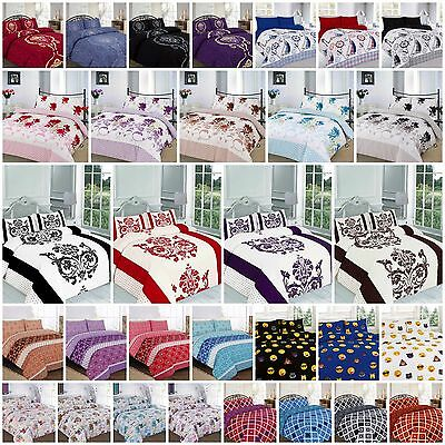 Duvet Quilt Cover Set Double Single Super King Printed Polycotton Bedding Luxury