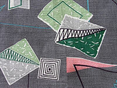 MCM Miami Beach Modern MiMo VTG Barkcloth Fabric Abstract Boomerang Atomic 50's