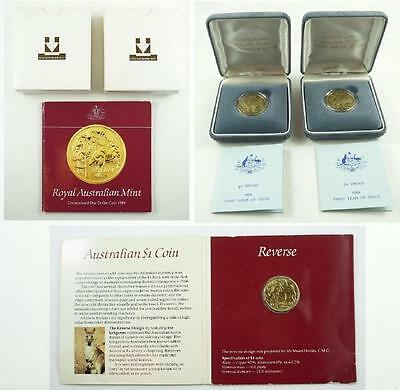 2 Cased 1984 Australia 1st Proof Dollar Coins & Uncirculated $1.00 Coin