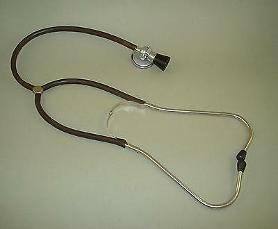 Vintage Old Doctor Stethoscope with Bakelite Top and Dark Brown Tubes 1960's