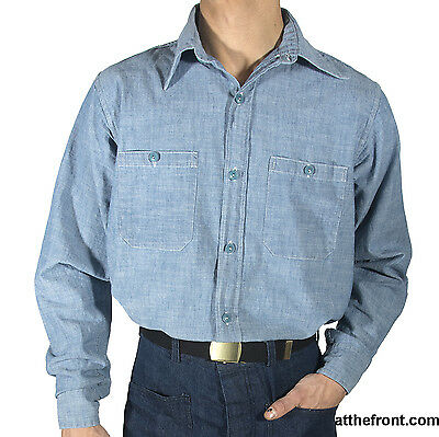 WWII Navy Chambray Shirt, Size 16, New