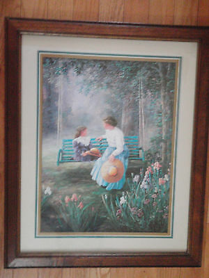 Home Interior Lady with blue skirt & straw hat w a girl on the swing by flowers