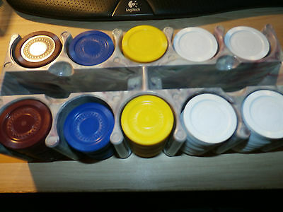 Mid Century Vintage Marbled Poker Chip Caddy With Chips Holds 2 Decks of Cards