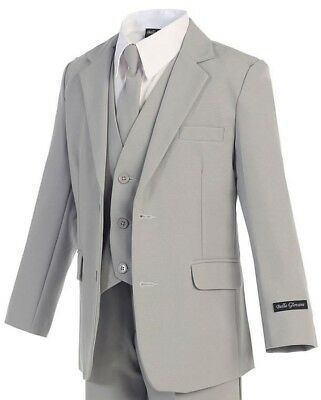 Boys Light Grey Suit Slimmer Fit, Gray Little Kids Formal Occasion Wear, 2T - 20