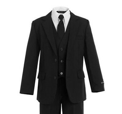 Black - New Boys Suits Slimmer Fit  Kids Formal Occasion Wear Sizes 2T - 20