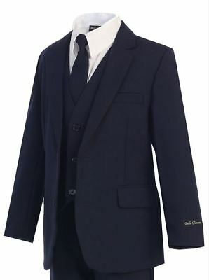 Navy - Boys Suit (Sizes 2T - 20) Slimmer Fit Kids Formal Occasion Wear Recital
