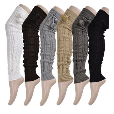 Winter Women's Leg Warmers Long Wool Crochet Knit Knee Legging Socks Boots