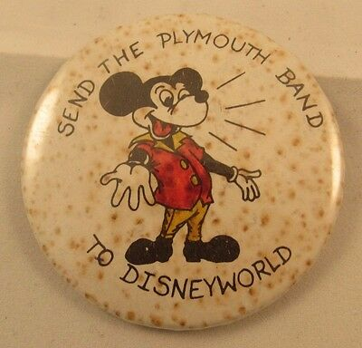 Send The Plymouth Wisconsin Band To Disneyworld Button Mickey Mouse