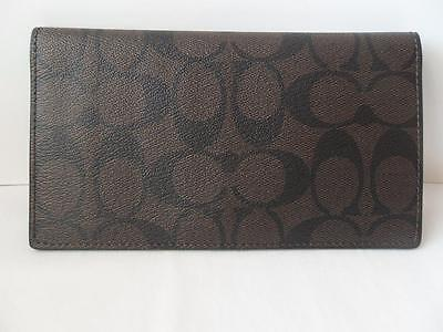 New Coach PVC Signature Checkbook Cover Brown Black