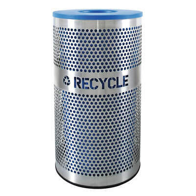 TOUGH GUY Recycling Container,Silver, Blue,33 gal., 5UJC1, Silver, Blue