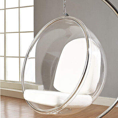 Modern Hanging Transparent Ring Chair In Clear Acrylic W/White Vinyl Cushion