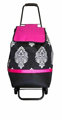 grocery folding shopping cart with bag carry on color ( black - pink )