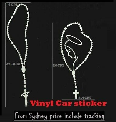Rosary Beads Cross Car Vinyl Sticker Decal