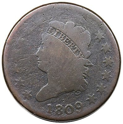 1809 Classic Head Large Cent, key date, S-280, G+ detail