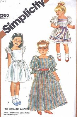 Vintage Sweet Girl's Puff and Flutter Sleeve Summer Dress Sewing Pattern